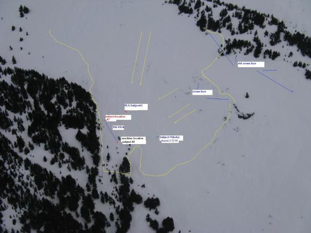 <b>Figure 4:</b> view of subject locations and apparent debris flow from air (<a href=javascript:void(0); onClick=win=window.open('https://avalanche.state.co.us/caic/media/full/acc_125_83.jpg','caic_media','resizable=1,height=820,width=840,scrollbars=yes');win.focus();return false;>see full sized image</a>)
