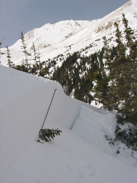 <b>Figure 7:</b> Deepest point of the crown. 13,195 foot Hagar Mountain in the background. (<a href=javascript:void(0); onClick=win=window.open('http://avalanche.state.co.us/caic/media/full/acc_225_311.jpg','caic_media','resizable=1,height=820,width=840,scrollbars=yes');win.focus();return false;>see full sized image</a>)