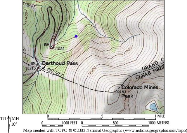 <b>Figure 1:</b> Topographic map of Berthoud Pass, with the diamond marking the avalanche debris. (<a href=javascript:void(0); onClick=win=window.open('https://avalanche.state.co.us/caic/media/full/acc_277_659.jpg','caic_media','resizable=1,height=820,width=840,scrollbars=yes');win.focus();return false;>see full sized image</a>)