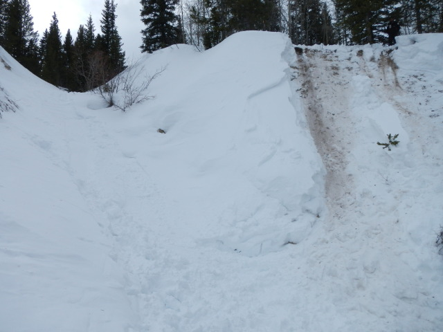 <b>Figure 5:</b> Looking up the gully at the route taken by Skier 1 and Skier 2. (<a href=javascript:void(0); onClick=win=window.open('https://avalanche.state.co.us/caic/media/full/acc_431_1809.jpg','caic_media','resizable=1,height=820,width=840,scrollbars=yes');win.focus();return false;>see full sized image</a>)
