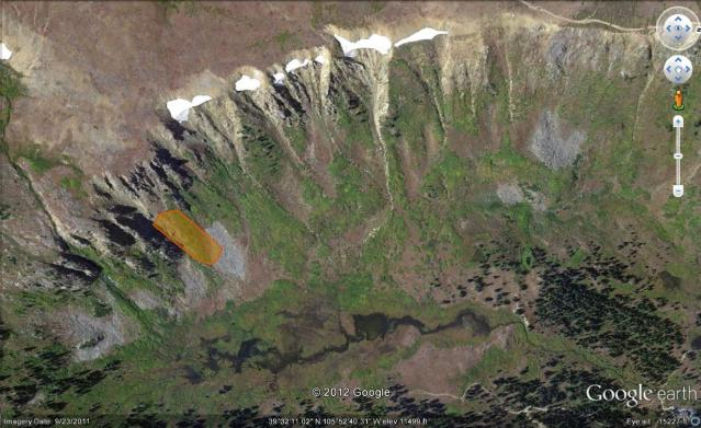 <b>Figure 1:</b> Deer Creek Drainage from Google Earth. Orange shaded area outlines the approximate area of the hard-slab avalanche. (<a href=javascript:void(0); onClick=win=window.open('https://avalanche.state.co.us/caic/media/full/acc_440_2114.jpg','caic_media','resizable=1,height=820,width=840,scrollbars=yes');win.focus();return false;>see full sized image</a>)