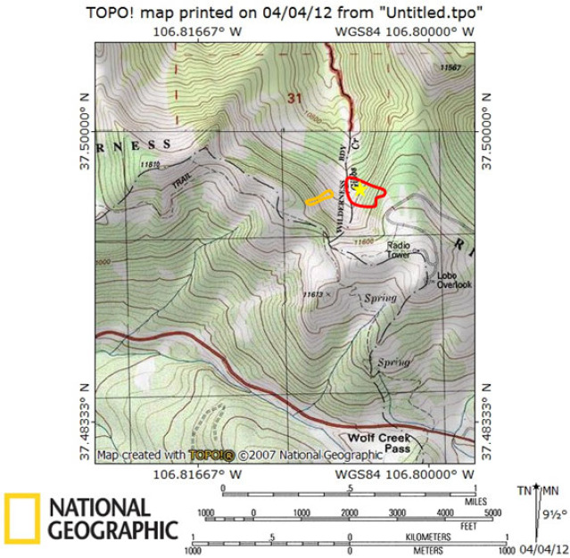 <b>Figure 1:</b> Topographic map of Gibbs Creek. The red line approximates the outline of the fatal avalanche. Skier 2 was buried near the yellow star. The orange line approximates the outline of the avalanche remotely triggered on 2/15. (<a href=javascript:void(0); onClick=win=window.open('https://avalanche.state.co.us/caic/media/full/acc_444_2826.jpg','caic_media','resizable=1,height=820,width=840,scrollbars=yes');win.focus();return false;>see full sized image</a>)