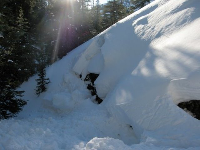 <b>Figure 1:</b> Small secondary pocket that released on the opposite side of the gully. Another, larger pocket pulled out ~50 yards down the gully around the corner to the right in the picture (<a href=javascript:void(0); onClick=win=window.open('https://avalanche.state.co.us/caic/media/full/acc_456_2593.jpg','caic_media','resizable=1,height=820,width=840,scrollbars=yes');win.focus();return false;>see full sized image</a>)