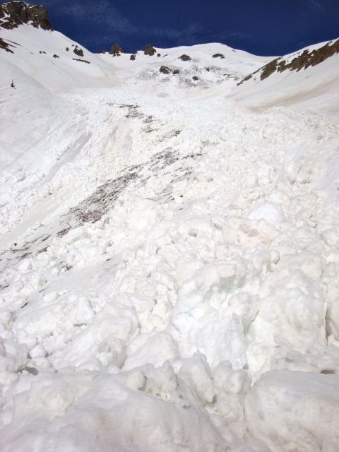 <b>Figure 7:</b> Looking up the avalanche path from the track. (<a href=javascript:void(0); onClick=win=window.open('https://avalanche.state.co.us/caic/media/full/acc_463_2806.jpg','caic_media','resizable=1,height=820,width=840,scrollbars=yes');win.focus();return false;>see full sized image</a>)