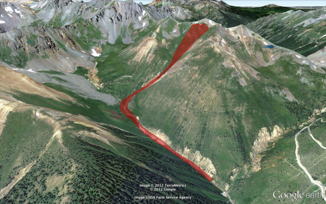 <b>Figure 9:</b> A Google Earth image with the approximate boundaries of the avalanche marked with a red polygon. (<a href=javascript:void(0); onClick=win=window.open('https://avalanche.state.co.us/caic/media/full/acc_463_2810.png','caic_media','resizable=1,height=820,width=840,scrollbars=yes');win.focus();return false;>see full sized image</a>)
