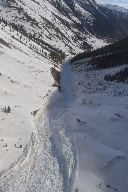 <b>Figure 18:</b> Debris from the avalanche in a lower portion of the gully. (<a href=javascript:void(0); onClick=win=window.open('https://avalanche.state.co.us/caic/media/full/acc_463_2876.jpg','caic_media','resizable=1,height=820,width=840,scrollbars=yes');win.focus();return false;>see full sized image</a>)