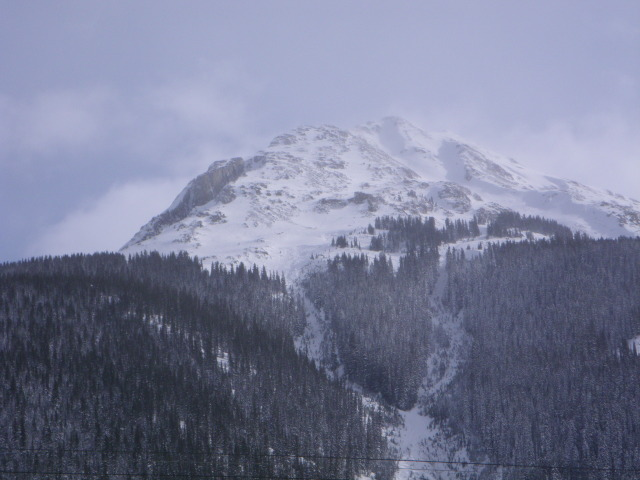 <b>Figure 11:</b> A picture of Swansea Gulch and the Rabbit Ears below treeline a couple of days after the 1-27-13 avalanche. The Coyote Tooth is the dark rock outcrop center of image. The moraine feature where the avalanche occurred is directly below the Coyote Tooth, just below treeline. (<a href=javascript:void(0); onClick=win=window.open('https://avalanche.state.co.us/caic/media/full/acc_484_3975.jpg','caic_media','resizable=1,height=820,width=840,scrollbars=yes');win.focus();return false;>see full sized image</a>)