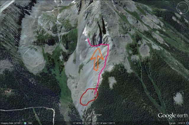 <b>Figure 12:</b> A Google Earth image of Swansea Gulch. The orange arrow points to the Coyote Tooth, the pink line denotes the approximate crown line of the earlier Coyote Tooth avalanche. The red line shows the approximate boundary of the avalanche that caught Rider 1. (<a href=javascript:void(0); onClick=win=window.open('https://avalanche.state.co.us/caic/media/full/acc_484_4104.jpg','caic_media','resizable=1,height=820,width=840,scrollbars=yes');win.focus();return false;>see full sized image</a>)
