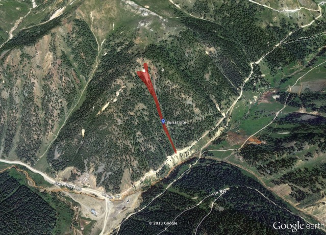 <b>Figure 1:</b> Google Earth image of the avalanche path and burial site. (<a href=javascript:void(0); onClick=win=window.open('https://avalanche.state.co.us/caic/media/full/acc_485_4086.jpg','caic_media','resizable=1,height=820,width=840,scrollbars=yes');win.focus();return false;>see full sized image</a>)