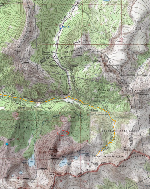 <b>Figure 9:</b> A topographic map of the northern Never Summer Mountains and Cameron Pass area. The red circle shows the accident site. The locations of the Joe Wright SNOTEL and Cameron Pass weather stations are shown with blue circles. The orange path is a groomed snowmobile track. (<a href=javascript:void(0); onClick=win=window.open('https://avalanche.state.co.us/caic/media/full/acc_497_4675.png','caic_media','resizable=1,height=820,width=840,scrollbars=yes');win.focus();return false;>see full sized image</a>)