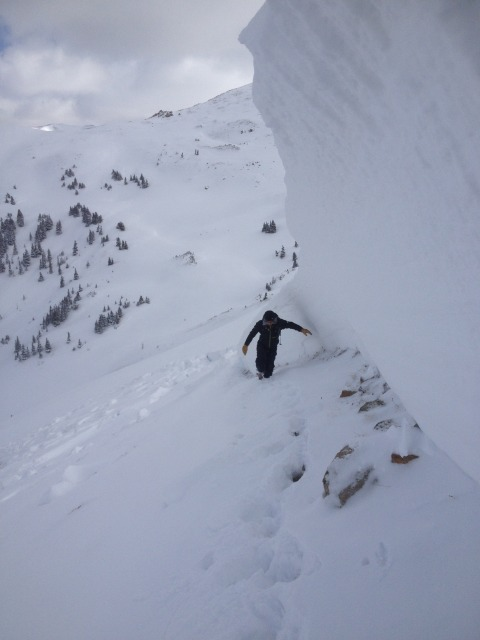<b>Figure 6:</b> Looking east along the skier's right hand side of the crown line. This shows the average crown depth of 150-170cm deep. (<a href=javascript:void(0); onClick=win=window.open('http://avalanche.state.co.us/caic/media/full/acc_505_5126.jpg','caic_media','resizable=1,height=820,width=840,scrollbars=yes');win.focus();return false;>see full sized image</a>)