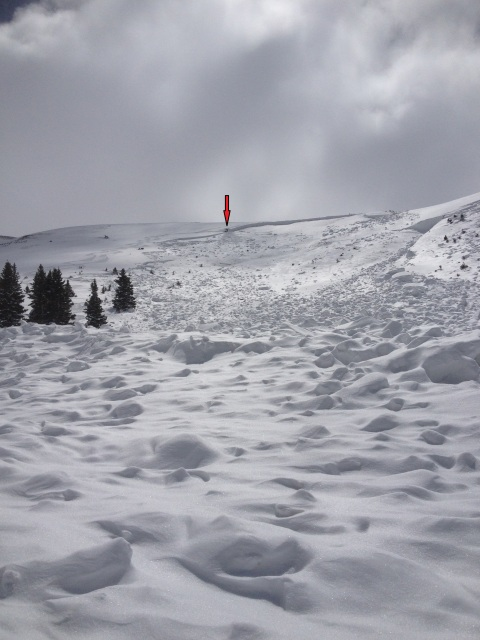 <b>Figure 7:</b> Looking up the avalanche path from near where the victims came to rest. The red arrow indicates the location of the fracture line profile (<a href=javascript:void(0); onClick=win=window.open('http://avalanche.state.co.us/caic/media/full/acc_505_5128.jpg','caic_media','resizable=1,height=820,width=840,scrollbars=yes');win.focus();return false;>see full sized image</a>)
