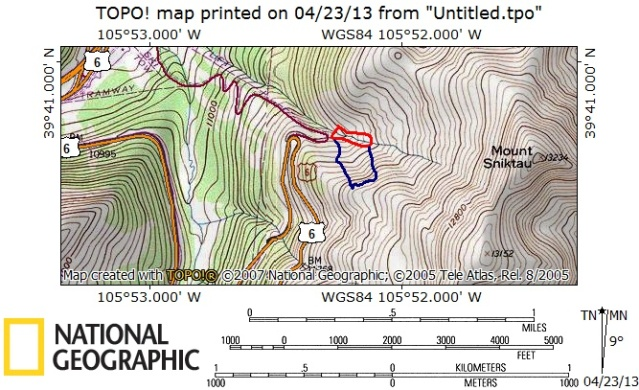 <b>Figure 8:</b> The blue line shows the approximate area of the avalanche and the red area outlines the areas where the victims came to rest (<a href=javascript:void(0); onClick=win=window.open('http://avalanche.state.co.us/caic/media/full/acc_505_5129.jpg','caic_media','resizable=1,height=820,width=840,scrollbars=yes');win.focus();return false;>see full sized image</a>)