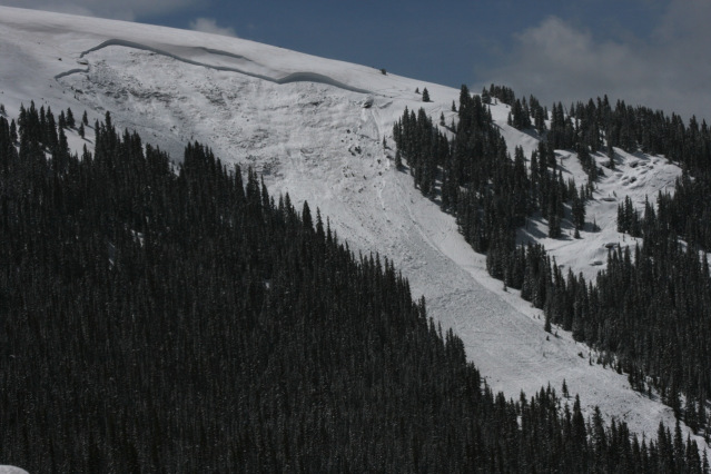 <b>Figure 16:</b> Large and fatal deep slab near Vail Pass on April 18th. The avalanche released on a north-facing, near-treeline slope and was triggered from low in start zone. Photo by Dale Atkins. (<a href=javascript:void(0); onClick=win=window.open('http://avalanche.state.co.us/caic/media/full/acc_505_5140.jpg','caic_media','resizable=1,height=820,width=840,scrollbars=yes');win.focus();return false;>see full sized image</a>)