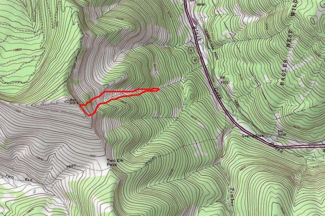 <b>Figure 10:</b> Topo map showing approximate boundaries for the 1-7-2014 avalanche in East Vail. (<a href=javascript:void(0); onClick=win=window.open('https://avalanche.state.co.us/caic/media/full/acc_518_6216.jpg','caic_media','resizable=1,height=820,width=840,scrollbars=yes');win.focus();return false;>see full sized image</a>)