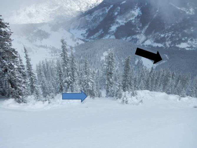 <b>Figure 11:</b> Photo taken about 30 feet above the crown. Rider 3 and 4 entered the path from near this location. 