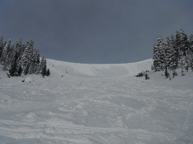 <b>Figure 3:</b> Looking uphill towards the start zone. The two avalanches are visible on either side of the image. (<a href=javascript:void(0); onClick=win=window.open('https://avalanche.state.co.us/caic/media/full/acc_524_6875.jpg','caic_media','resizable=1,height=820,width=840,scrollbars=yes');win.focus();return false;>see full sized image</a>)