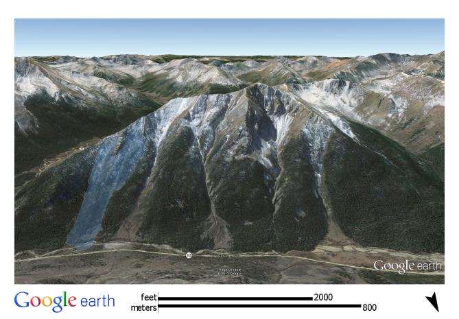 <b>Figure 3:</b> A Google Earth image of the north side of Star Mountain. The white polygon shows the approximate location and dimensions of the February 15th avalanche. (<a href=javascript:void(0); onClick=win=window.open('http://avalanche.state.co.us/caic/media/full/acc_526_7247.png','caic_media','resizable=1,height=820,width=840,scrollbars=yes');win.focus();return false;>see full sized image</a>)