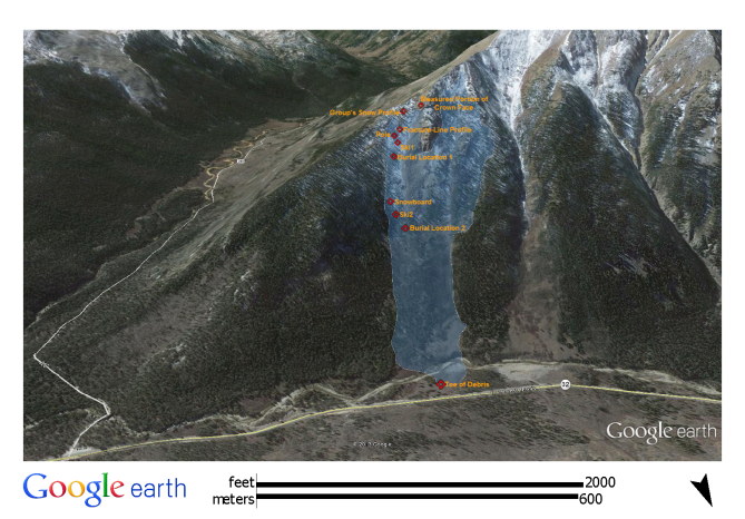 <b>Figure 4:</b> A Google Earth image of the north side of Star Mountain. The white polygon shows the approximate location and dimensions of the February 15th avalanche. The location of elements of the investigation are shown by red diamonds. (<a href=javascript:void(0); onClick=win=window.open('http://avalanche.state.co.us/caic/media/full/acc_526_7248.png','caic_media','resizable=1,height=820,width=840,scrollbars=yes');win.focus();return false;>see full sized image</a>)