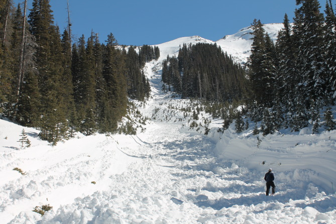 <b>Figure 2:</b> View of deep sidewalls gouged by the flowing debris. More typical of wet snow avalanches. (<a href=javascript:void(0); onClick=win=window.open('http://avalanche.state.co.us/caic/media/full/acc_531_7371.jpg','caic_media','resizable=1,height=820,width=840,scrollbars=yes');win.focus();return false;>see full sized image</a>)