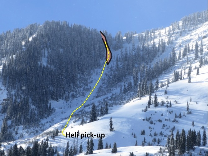 <b>Figure 1:</b> The orange polygon outline the approximate boundaries of the avalanche. The yellow dotted line depicts the descent route. (<a href=javascript:void(0); onClick=win=window.open('https://avalanche.state.co.us/caic/media/full/acc_554_8468.jpg','caic_media','resizable=1,height=820,width=840,scrollbars=yes');win.focus();return false;>see full sized image</a>)