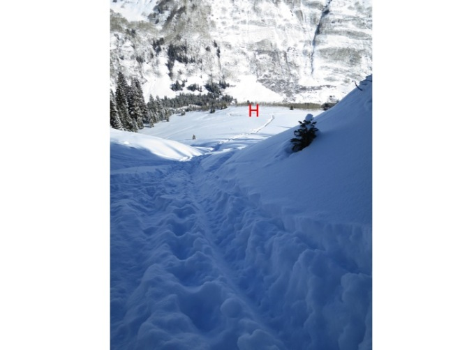 <b>Figure 5:</b> Looking down the descent track.  The red &quot;H&quot; indicates the helicopter landing zone. (<a href=javascript:void(0); onClick=win=window.open('https://avalanche.state.co.us/caic/media/full/acc_554_8472.jpg','caic_media','resizable=1,height=820,width=840,scrollbars=yes');win.focus();return false;>see full sized image</a>)