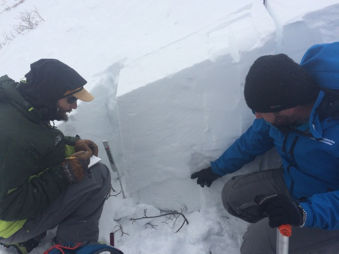<b>Figure 7:</b> Investigators at the snow profile. The Extended Column Tests failed with a sudden collapse at the top of  a depth hoar layer, propagating completely in one loading step (ECTP23 SC) (<a href=javascript:void(0); onClick=win=window.open('https://avalanche.state.co.us/caic/media/full/acc_555_8674.jpg','caic_media','resizable=1,height=820,width=840,scrollbars=yes');win.focus();return false;>see full sized image</a>)