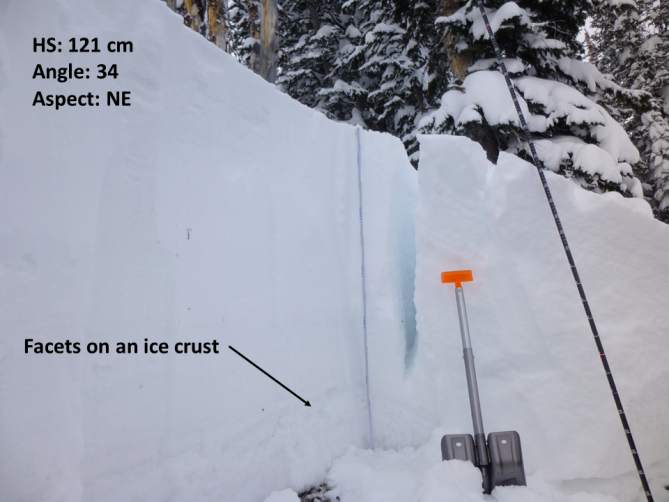 <b>Figure 4:</b> The avalanche broke on a layer of well-developed facets that are sitting on an ice crust. The crack in the snowpit wall is a remnant slab that cracked, but did not slide down the hill in the avalanche. Photo: GNFAC (<a href=javascript:void(0); onClick=win=window.open('http://avalanche.state.co.us/caic/media/full/acc_618_13869.png','caic_media','resizable=1,height=820,width=840,scrollbars=yes');win.focus();return false;>see full sized image</a>)