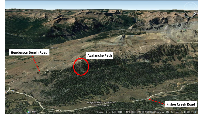 <b>Figure 8:</b> Google Earth image of the accident site. (<a href=javascript:void(0); onClick=win=window.open('http://avalanche.state.co.us/caic/media/full/acc_618_13877.png','caic_media','resizable=1,height=820,width=840,scrollbars=yes');win.focus();return false;>see full sized image</a>)