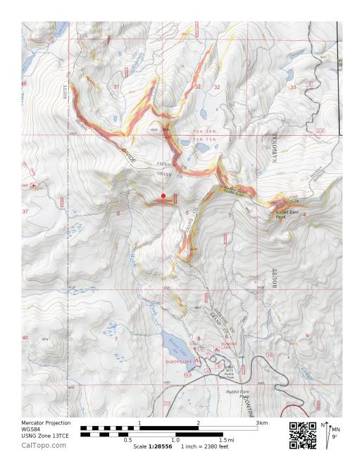 <b>Figure 1:</b> The map shows the location of a snowmobile-triggered avalanche that occurred on December 11, 2016 near Rabbit Ears Pass in the Steamboat zone. (<a href=javascript:void(0); onClick=win=window.open('https://avalanche.state.co.us/caic/media/full/acc_619_13816.jpg','caic_media','resizable=1,height=820,width=840,scrollbars=yes');win.focus();return false;>see full sized image</a>)