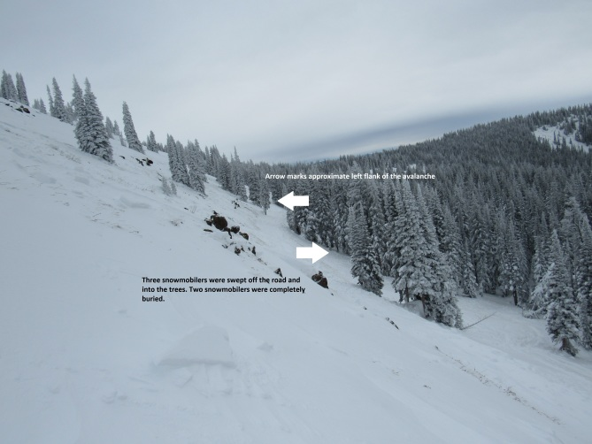 <b>Figure 4:</b> Looking along the avalanche crown. the road crosses low on the slope. The trees below the road create a terrain trap. (<a href=javascript:void(0); onClick=win=window.open('http://avalanche.state.co.us/caic/media/full/acc_619_13819.jpg','caic_media','resizable=1,height=820,width=840,scrollbars=yes');win.focus();return false;>see full sized image</a>)
