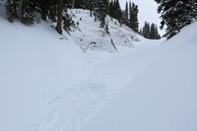 <b>Figure 4:</b> Looking upslope. The burial location is in the foreground. (<a href=javascript:void(0); onClick=win=window.open('http://avalanche.state.co.us/caic/media/full/acc_622_14108.jpg','caic_media','resizable=1,height=820,width=840,scrollbars=yes');win.focus();return false;>see full sized image</a>)