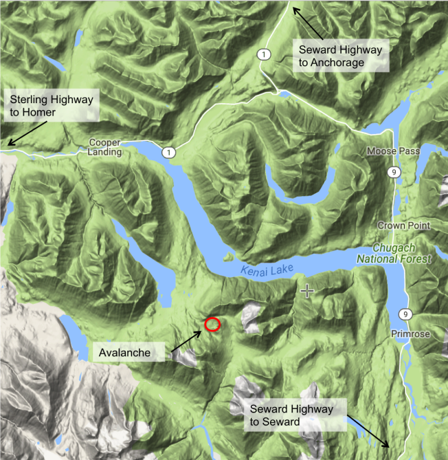 <b>Figure 2:</b> Google Map of the Cooper Landing area and Avalanche Location (<a href=javascript:void(0); onClick=win=window.open('http://avalanche.state.co.us/caic/media/full/acc_629_16591.png','caic_media','resizable=1,height=820,width=840,scrollbars=yes');win.focus();return false;>see full sized image</a>)