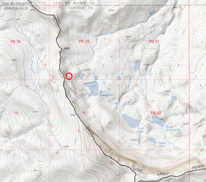 <b>Figure 3:</b> A topographic map of the area. The approximate location of the avalanche is shown by a red circle (map courtesy of Caltopo.com). (<a href=javascript:void(0); onClick=win=window.open('http://avalanche.state.co.us/caic/media/full/acc_631_15686.jpg','caic_media','resizable=1,height=820,width=840,scrollbars=yes');win.focus();return false;>see full sized image</a>)
