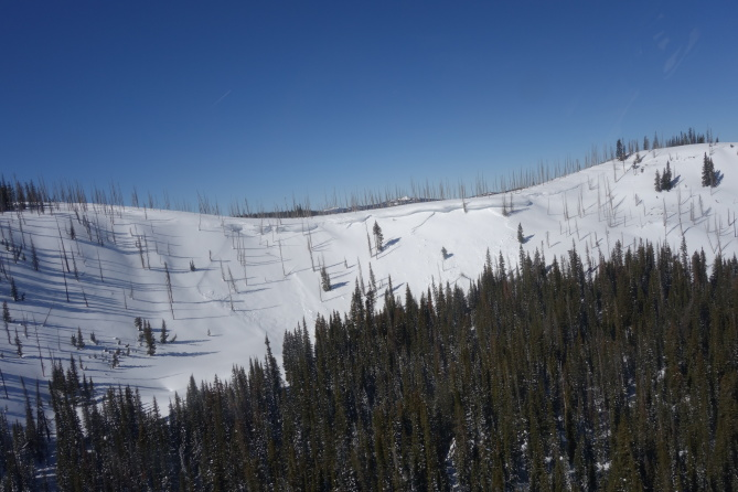 <b>Figure 11:</b> A recent avalanche to the north of the accident site, on the same ridgeline. The investigators saw this slide from the air and it is unclear if Riders 1 and 2 could see it from their approach. (<a href=javascript:void(0); onClick=win=window.open('http://avalanche.state.co.us/caic/media/full/acc_631_15761.jpg','caic_media','resizable=1,height=820,width=840,scrollbars=yes');win.focus();return false;>see full sized image</a>)