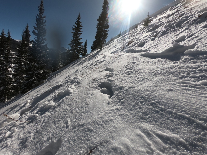<b>Figure 5:</b> Bed surface with a trace of new snow. The remaining snow is quite shallow and investigators had to kick steps in the hard snow, but would then sink to the ground. (<a href=javascript:void(0); onClick=win=window.open('http://avalanche.state.co.us/caic/media/full/acc_649_18677.jpg','caic_media','resizable=1,height=820,width=840,scrollbars=yes');win.focus();return false;>see full sized image</a>)