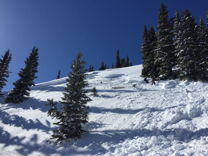 <b>Figure 8:</b> Looking up toward the crown from gully. (<a href=javascript:void(0); onClick=win=window.open('https://avalanche.state.co.us/caic/media/full/acc_649_18680.jpg','caic_media','resizable=1,height=820,width=840,scrollbars=yes');win.focus();return false;>see full sized image</a>)