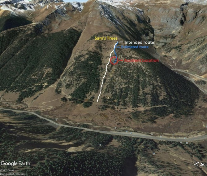 <b>Figure 11:</b> Google Earth image of accident location, planned, and estimated decent. (<a href=javascript:void(0); onClick=win=window.open('https://avalanche.state.co.us/caic/media/full/acc_649_18715.jpg','caic_media','resizable=1,height=820,width=840,scrollbars=yes');win.focus();return false;>see full sized image</a>)