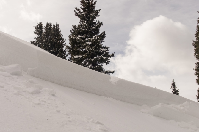 <b>Figure 6:</b> One of the rider's tracks at the crown face. (<a href=javascript:void(0); onClick=win=window.open('http://avalanche.state.co.us/caic/media/full/acc_650_19051.jpg','caic_media','resizable=1,height=820,width=840,scrollbars=yes');win.focus();return false;>see full sized image</a>)