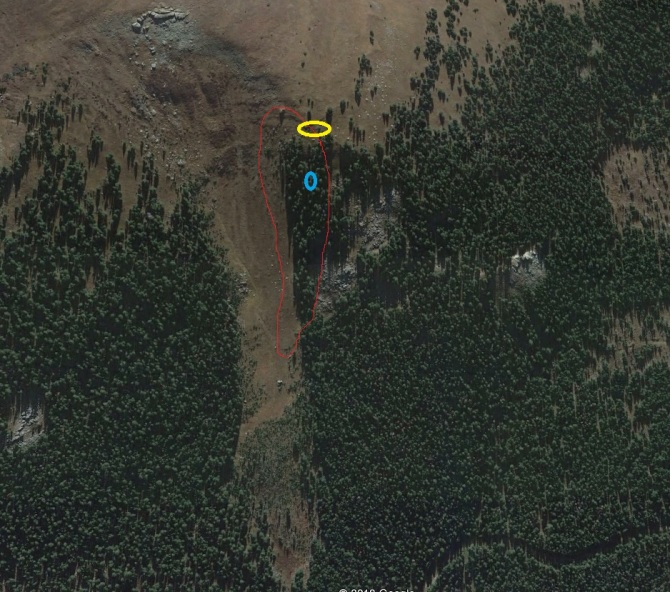 <b>Figure 7:</b> In this Google Earth image the yellow oval indicates where Riders 3 and 4 entered the path. The blue oval indicates where Rider 4 was found. The red line shows the area of the avalanche. (<a href=javascript:void(0); onClick=win=window.open('http://avalanche.state.co.us/caic/media/full/acc_650_19054.jpg','caic_media','resizable=1,height=820,width=840,scrollbars=yes');win.focus();return false;>see full sized image</a>)