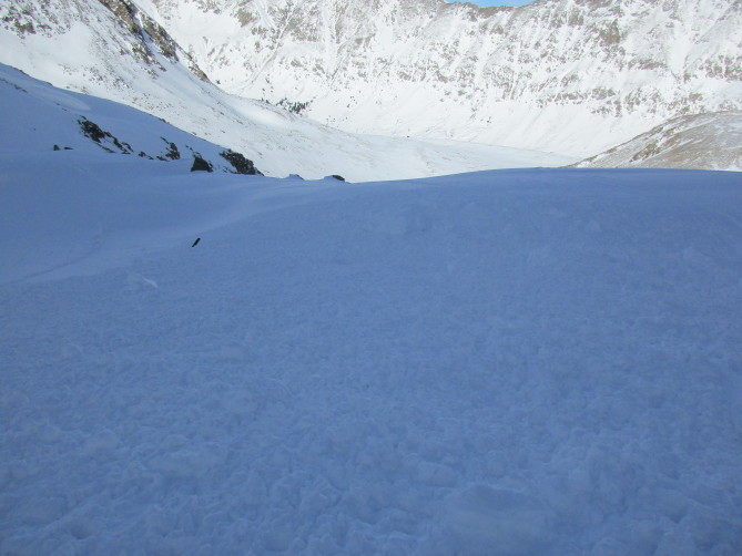 <b>Figure 2:</b> Looking down path from where Skier 2 came to rest. (<a href=javascript:void(0); onClick=win=window.open('http://avalanche.state.co.us/caic/media/full/acc_662_19801.jpg','caic_media','resizable=1,height=820,width=840,scrollbars=yes');win.focus();return false;>see full sized image</a>)