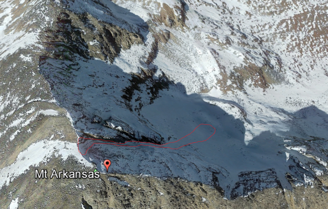 <b>Figure 5:</b> Google Earth image of the avalanche accident on Mt Arkansas, Fremont Pass. (<a href=javascript:void(0); onClick=win=window.open('http://avalanche.state.co.us/caic/media/full/acc_662_19804.png','caic_media','resizable=1,height=820,width=840,scrollbars=yes');win.focus();return false;>see full sized image</a>)