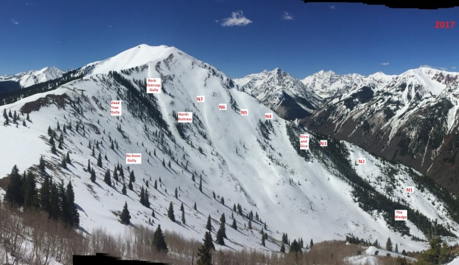<b>Figure 5:</b> Named avalanche paths in Maroon Bowl (Courtesy Aspen Highlands Ski Patrol). (<a href=javascript:void(0); onClick=win=window.open('http://avalanche.state.co.us/caic/media/full/acc_665_20435.jpg','caic_media','resizable=1,height=820,width=840,scrollbars=yes');win.focus();return false;>see full sized image</a>)