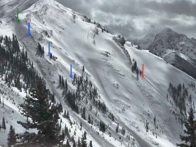 <b>Figure 7:</b> Maroon Bowl on April 8. The green arrow marks an avalanche triggered with explosives by the Aspen Highlands Ski Patrol. The blue arrows mark avalanches triggered by this avalanche. The red arrow marks the site of the fatal accident. (Image courtesy of Art Burrows) (<a href=javascript:void(0); onClick=win=window.open('http://avalanche.state.co.us/caic/media/full/acc_665_20446.jpg','caic_media','resizable=1,height=820,width=840,scrollbars=yes');win.focus();return false;>see full sized image</a>)