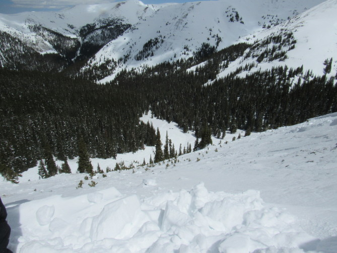 <b>Figure 6:</b> Looking down the avalanche path from near the crown face. Two parked snowmobiles are at furthest extent of the debris. (<a href=javascript:void(0); onClick=win=window.open('http://avalanche.state.co.us/caic/media/full/acc_666_20414.jpg','caic_media','resizable=1,height=820,width=840,scrollbars=yes');win.focus();return false;>see full sized image</a>)