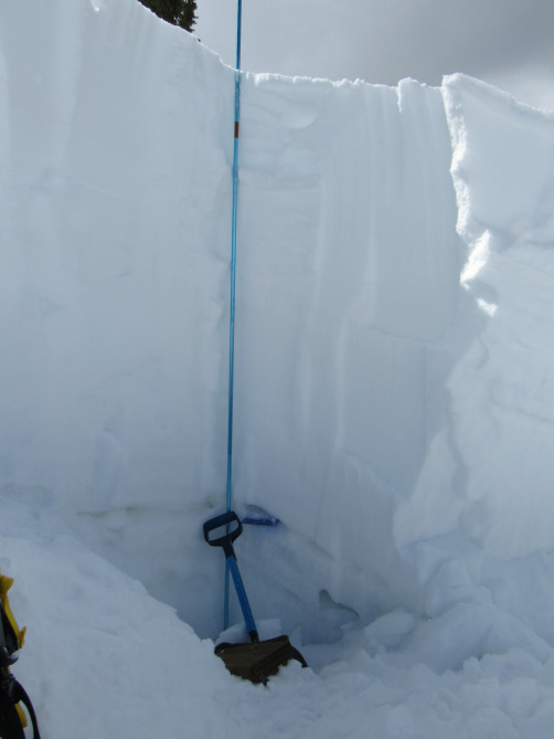 <b>Figure 11:</b> Snow profile in the crown of the avalanche at its deepest portion. The slab released on a small layer of facets at the top of the shovel handle. In many places the depth hoar layer at the ground did not slide and acted as a bed surface. (<a href=javascript:void(0); onClick=win=window.open('http://avalanche.state.co.us/caic/media/full/acc_666_20451.jpg','caic_media','resizable=1,height=820,width=840,scrollbars=yes');win.focus();return false;>see full sized image</a>)