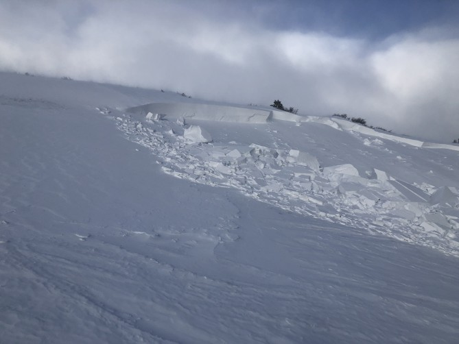 <b>Figure 7:</b> Another view of the crown at the southern edge of the avalanche where it broke the deepest. (<a href=javascript:void(0); onClick=win=window.open('https://avalanche.state.co.us/caic/media/full/acc_675_20917.jpeg','caic_media','resizable=1,height=820,width=840,scrollbars=yes');win.focus();return false;>see full sized image</a>)