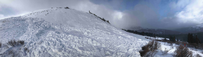 <b>Figure 8:</b> Although this was a relatively small terrain feature, consequences of getting caught in this avalanche were elevated by  terrain traps below. (<a href=javascript:void(0); onClick=win=window.open('https://avalanche.state.co.us/caic/media/full/acc_675_20918.jpg','caic_media','resizable=1,height=820,width=840,scrollbars=yes');win.focus();return false;>see full sized image</a>)