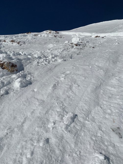 <b>Figure 3:</b> Looking from the bed surface up towards the crown of a skier triggered avalanche in Red Lady Bowl on November 25. The image was taken by Skier 3 while entering the path on the bed surface. (<a href=javascript:void(0); onClick=win=window.open('https://avalanche.state.co.us/caic/media/full/acc_676_21323.jpg','caic_media','resizable=1,height=820,width=840,scrollbars=yes');win.focus();return false;>see full sized image</a>)
