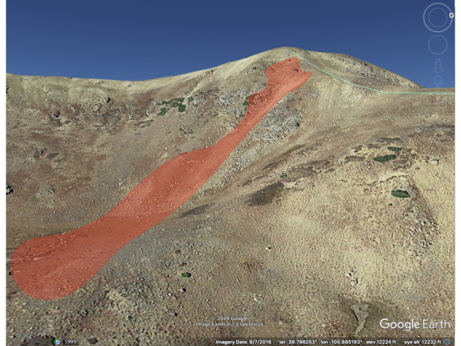 <b>Figure 4:</b> A Google Earth image of the accident site. The red polygon shows the approximate location of the avalanche. (Courtesy of Dale Atkins). (<a href=javascript:void(0); onClick=win=window.open('https://avalanche.state.co.us/caic/media/full/acc_681_22052.jpg','caic_media','resizable=1,height=820,width=840,scrollbars=yes');win.focus();return false;>see full sized image</a>)
